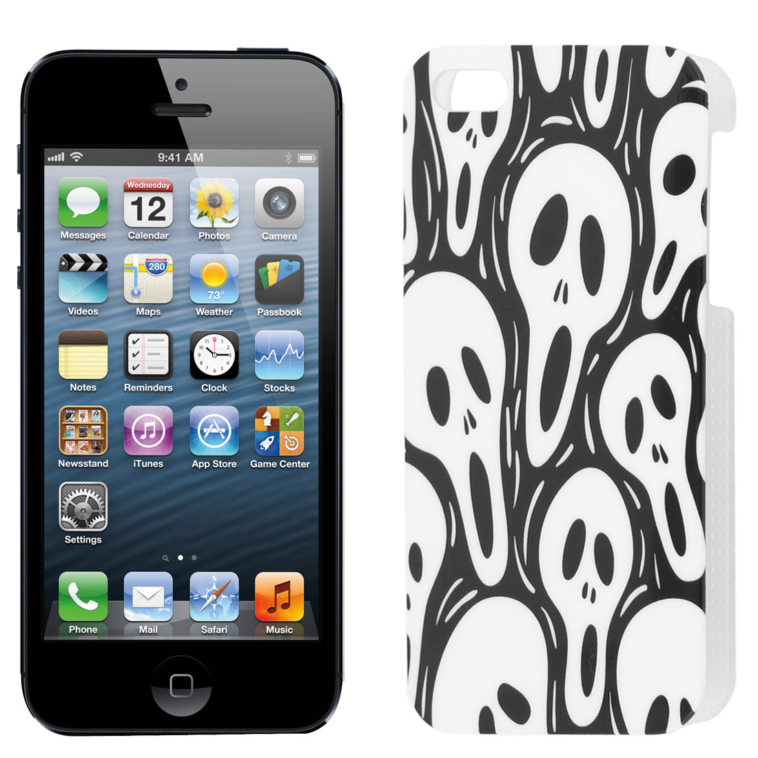 Skull Head Pattern Black IMD Hard Back Case Cover for iPhone 5 5G