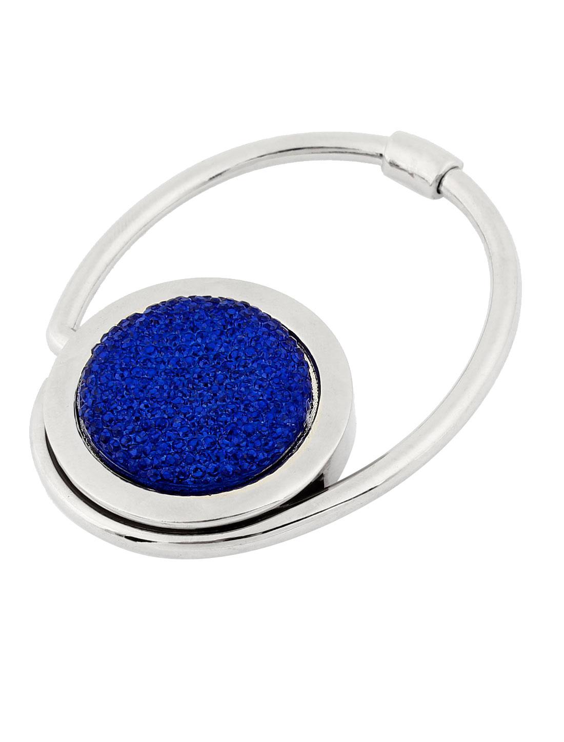 Lady Rubber Bottom Bling Glittery Powder Foldable Handbag Hanger Blue