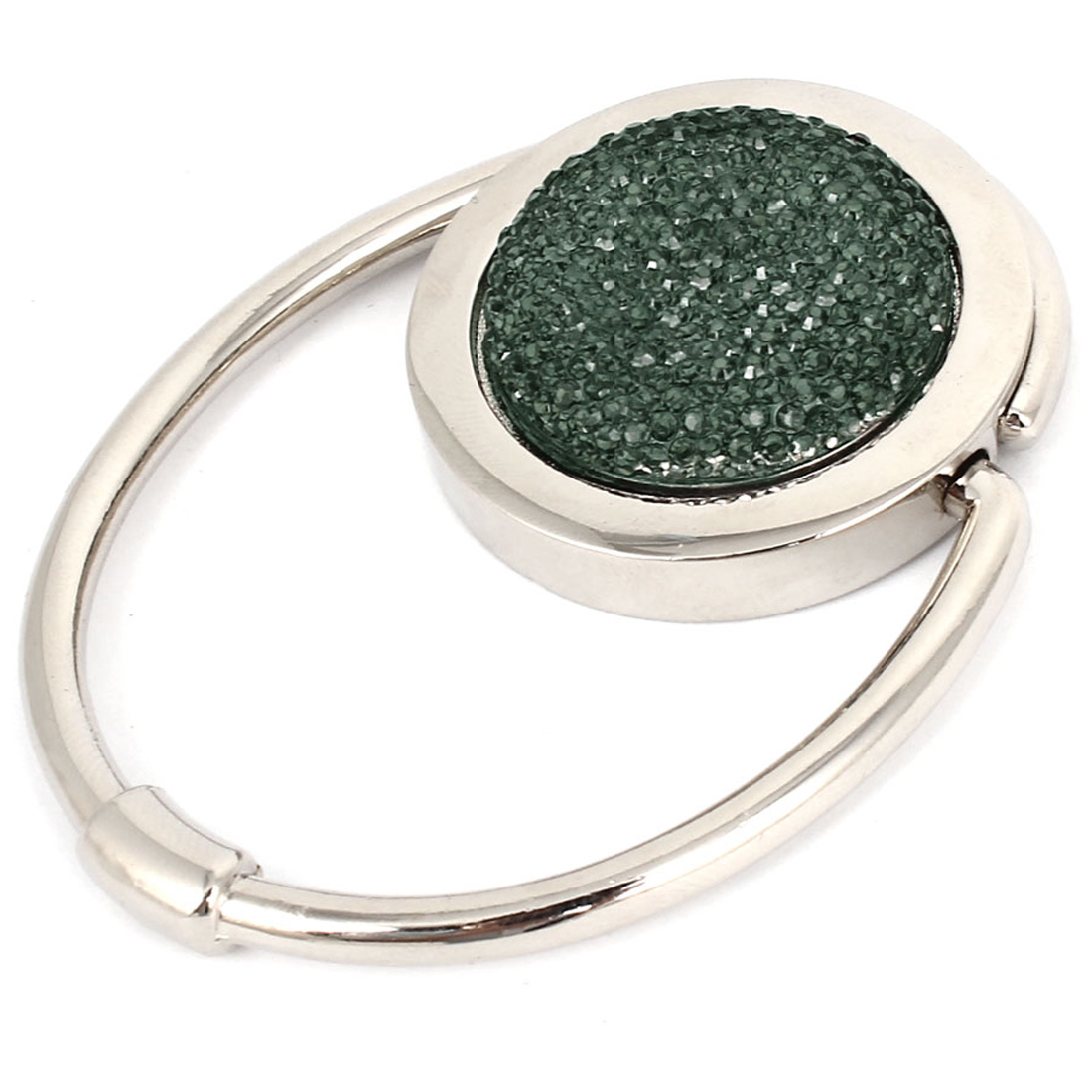 Green Sparkle Glittering Round Circle Shape Folding Handbag Hook for Woman