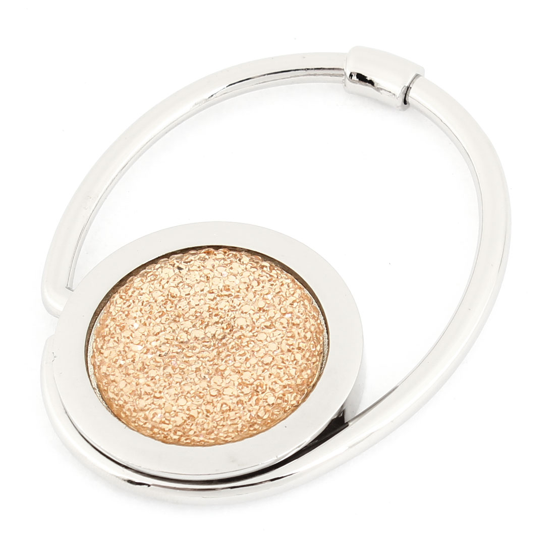Beige Silver Tone Metallic Round Circle Handbag Hanger Hooks for Woman