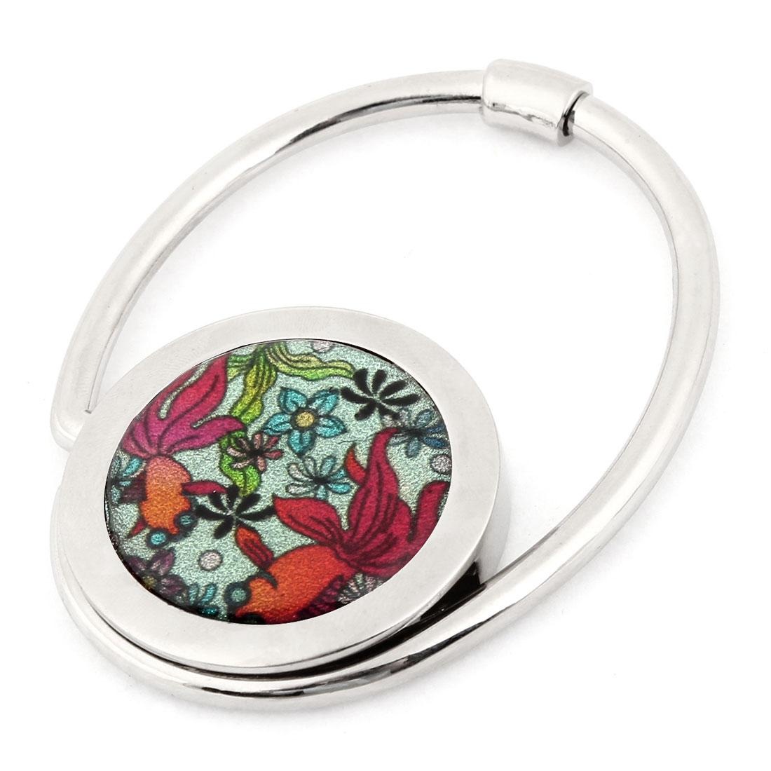 Colorful Flower Printed Silver Tone Metallic Handbag Hook for Woman