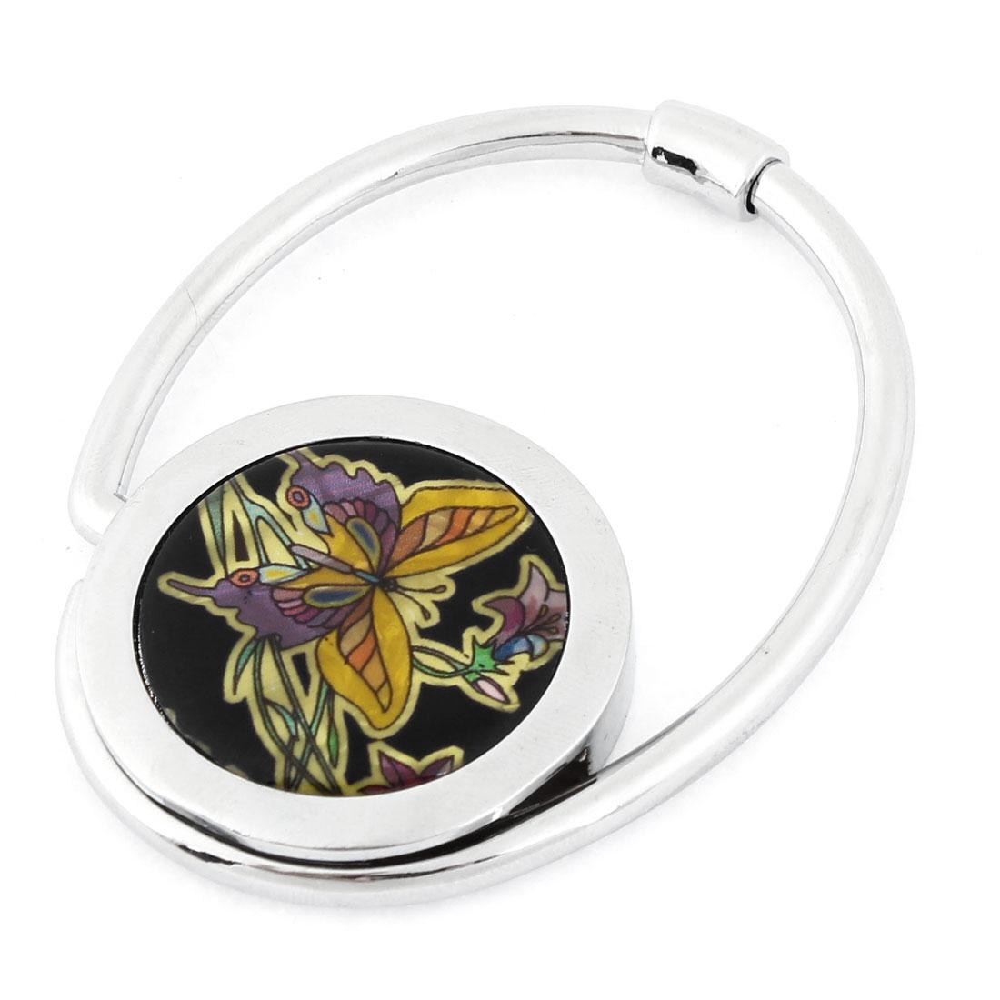 Black Floral Butterfly Printed Folding Purse Handbag Hook Table Holder