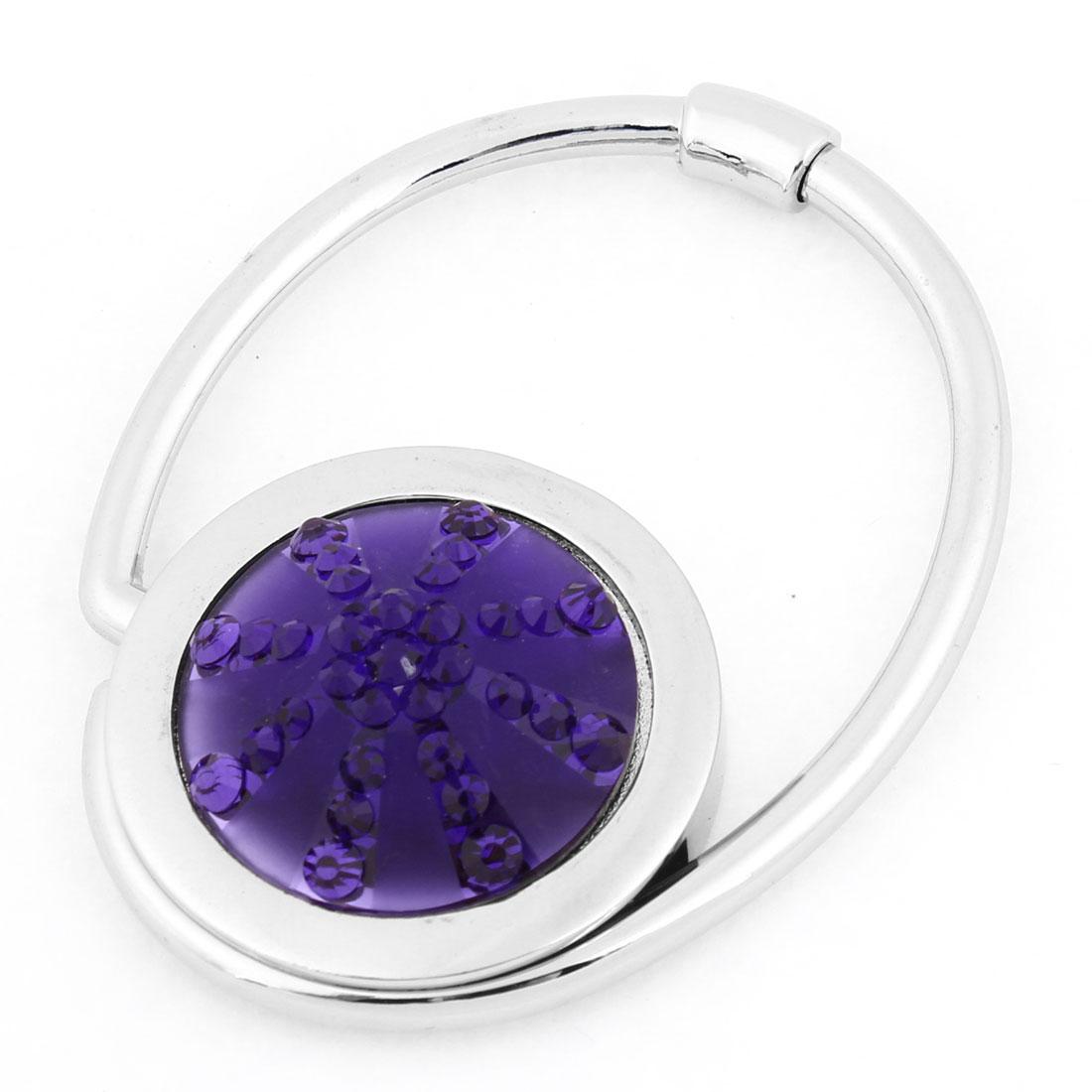 Purple Bling Crystal Embellished Folding Metal Handbag Hook for Lady