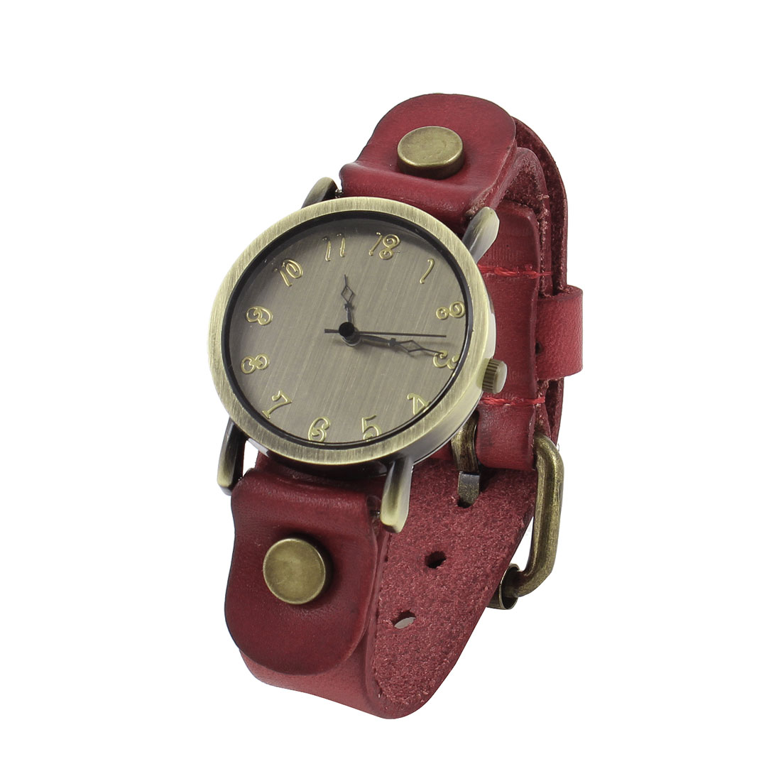 Crimson Faux Leather Watchband Arabic Numbers Round Dial Watch for Ladies