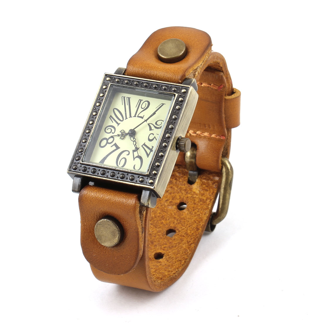 Brown Faux Leather Watchband Arabic Numbers Rectangle Dial Watch for Ladies