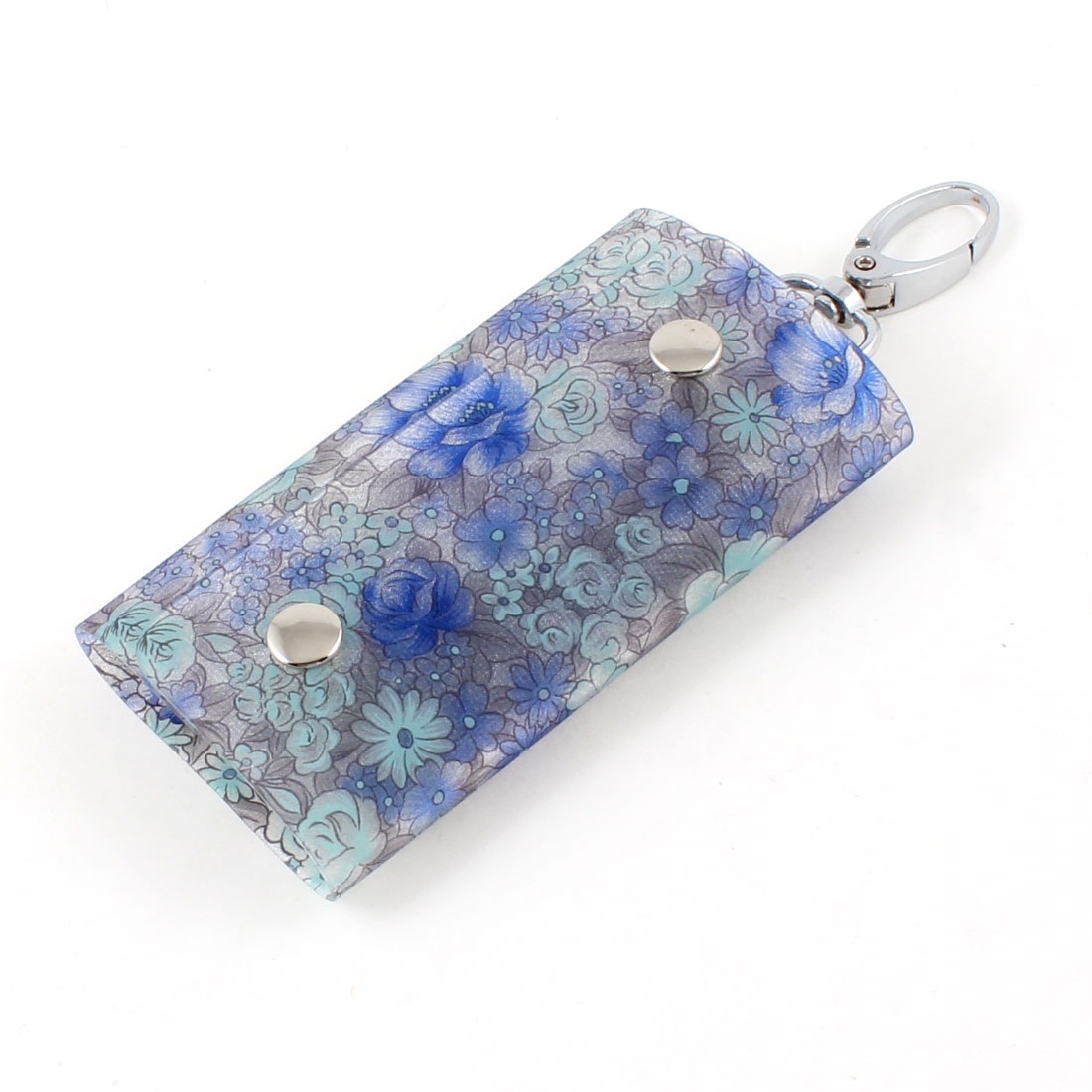 Portable Flowers Print Lobster Clasp 5 Metal Hooks Keys Holder Case Wallet