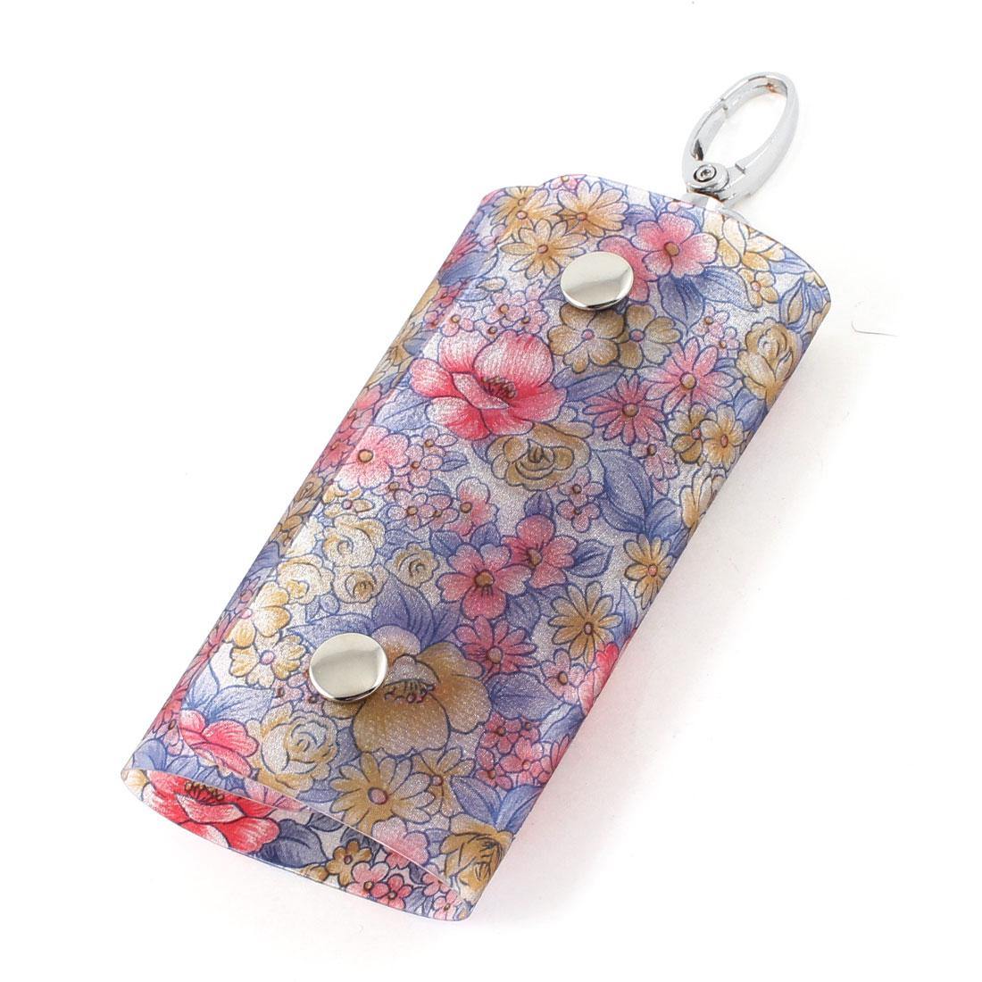 Floral Flowers Print Lobster Clasp 6 Metal Hooks Keys Holder Case Wallet