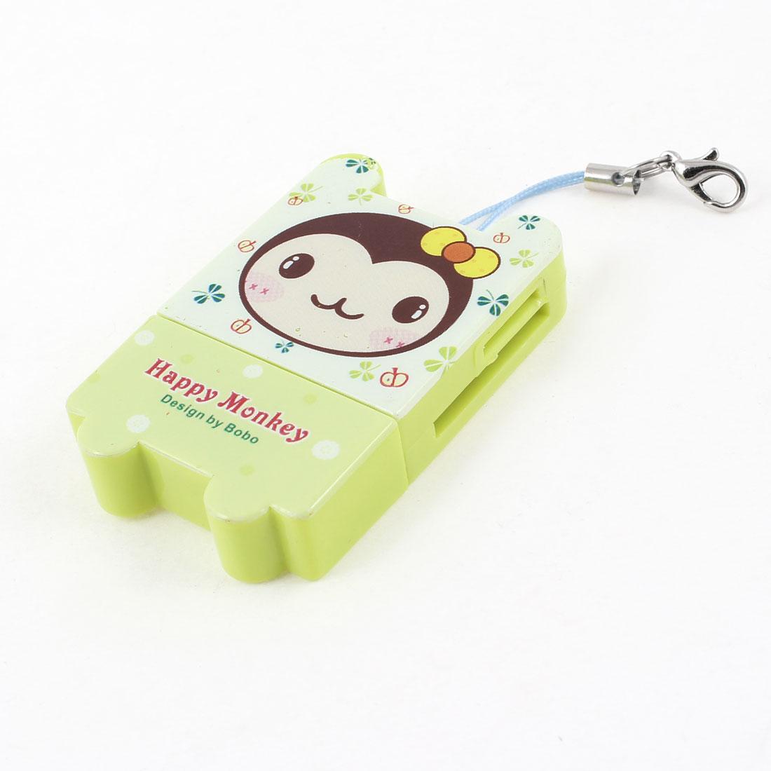 Plastic Shell USB SD TF Memory Card Reader Light Green