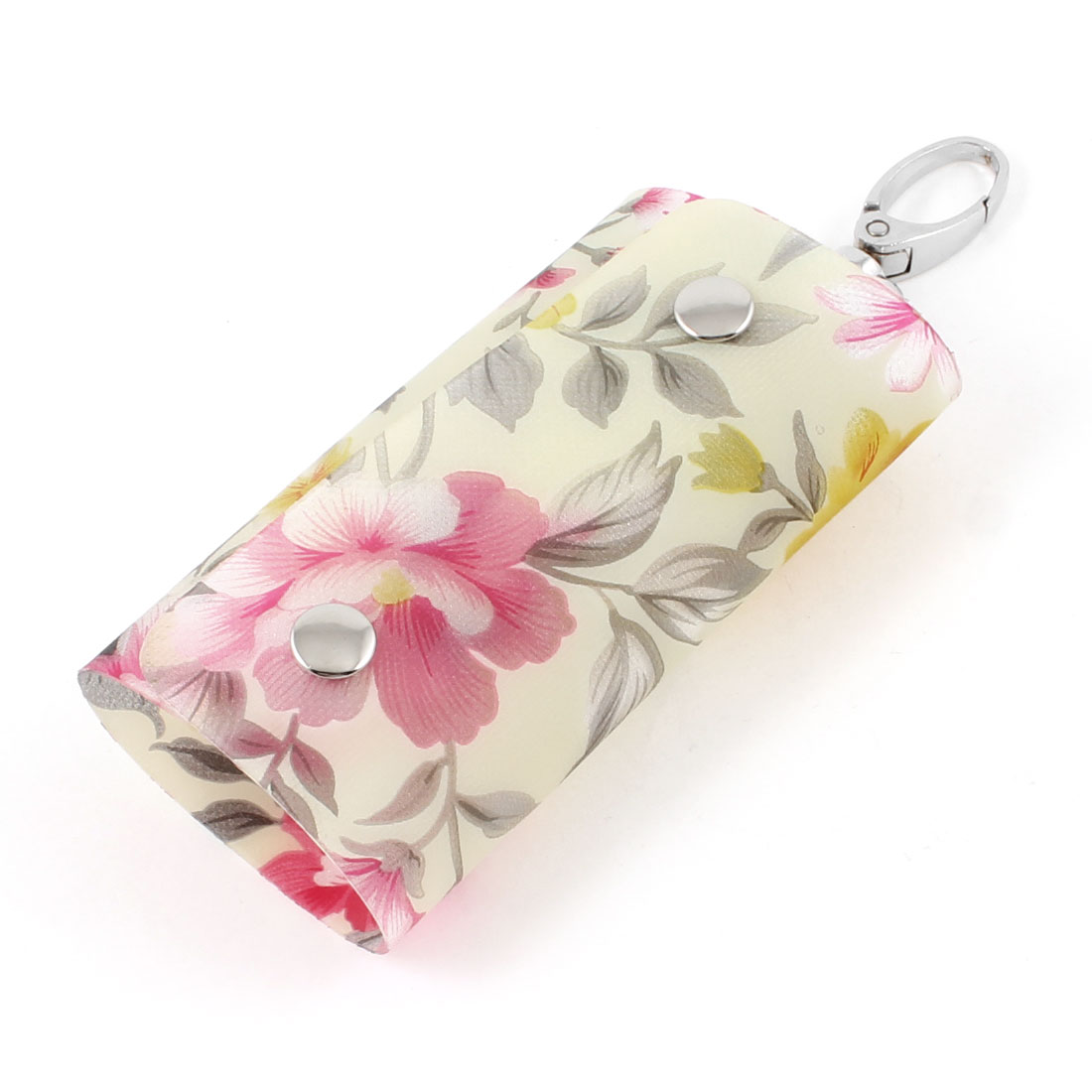Colorful Flowers Print Lobster Clasp 4 Metal Hooks Keys Holder Case Wallet