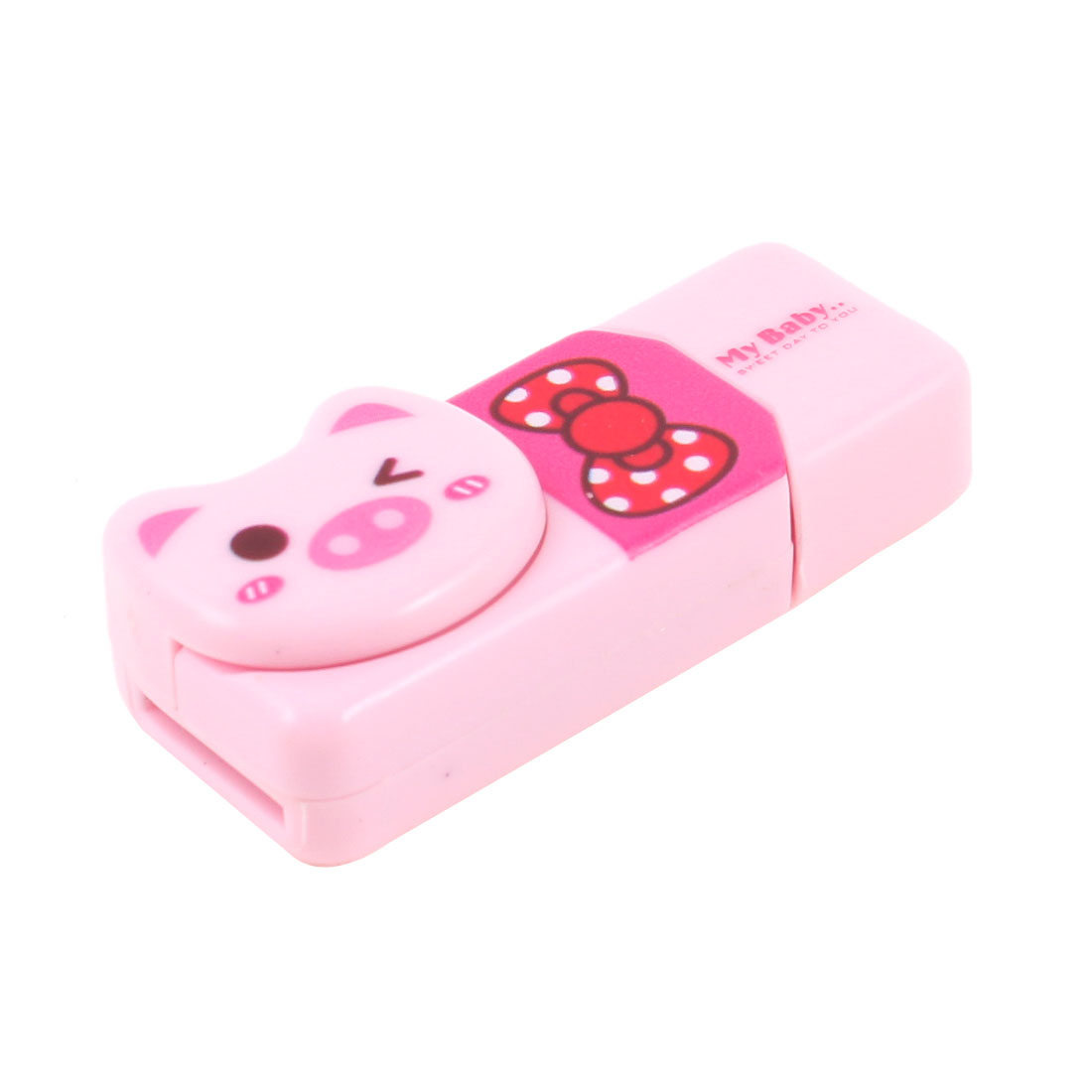 Fuchsia Bowknot Print Plastic Shell USB SD TF Memory Card Reader