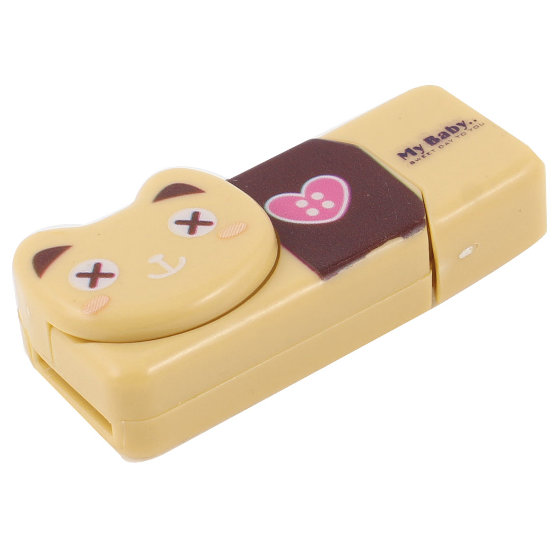 Bear Design Plastic Shell USB SD TF Memory Card Reader Apricot