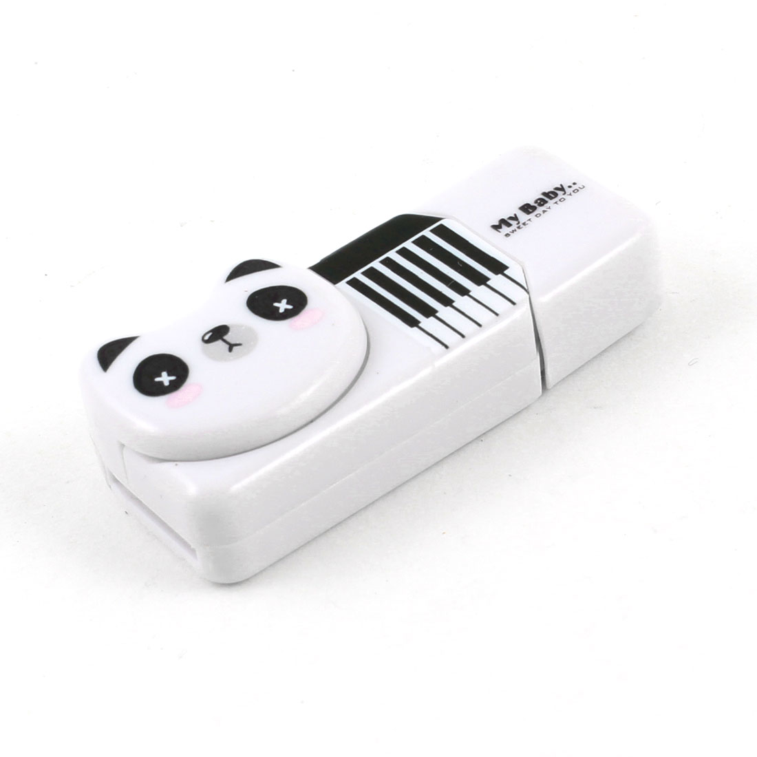 Panda Head Design Plastic Shell USB SD TF Memory Card Reader White