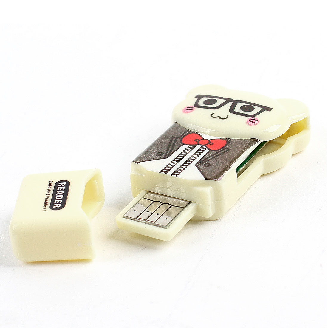 Bear Design Plastic Shell USB SD TF Memory Card Reader Beige