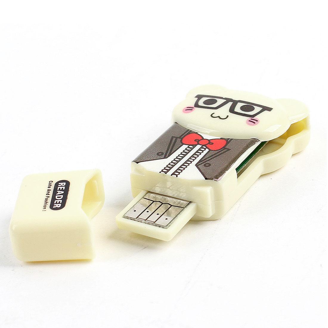 Bear Design Plastic Shell USB SD TF Memory Card Reader Beige