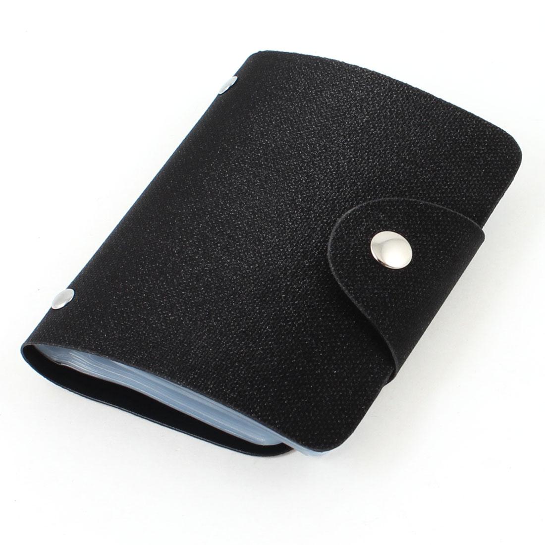 Black Glitter Plastic 26 Sheet Business ID VIP Card Case Holder Pockets
