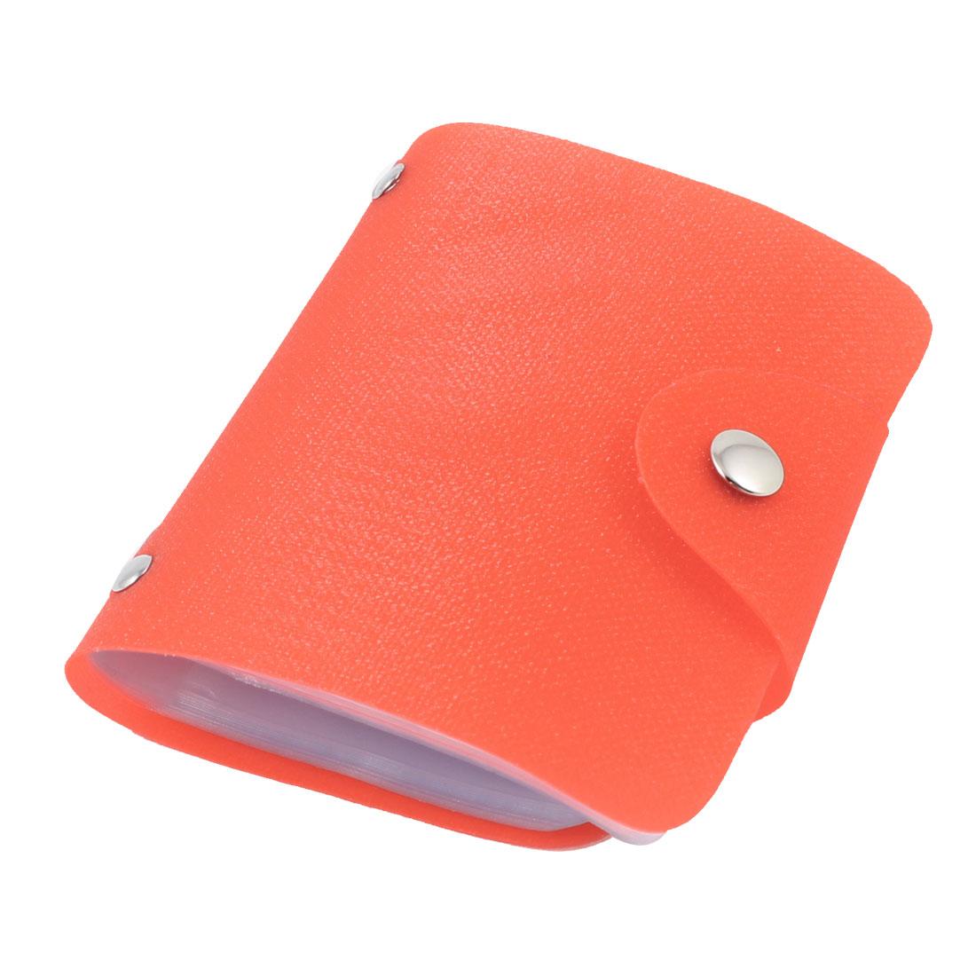 Orange Red Shiny Plastic Press Stud Closure VIP ID Cards 26 Slot Case Holder