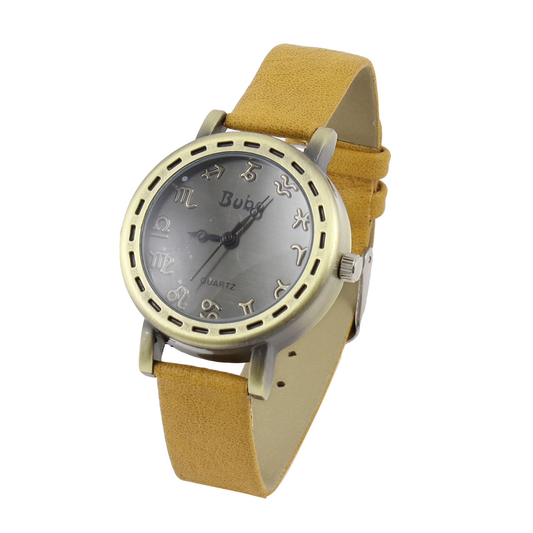 Women Single Pin Metal Buckle Watchband Wrist Watch Light Brown Bronze Tone