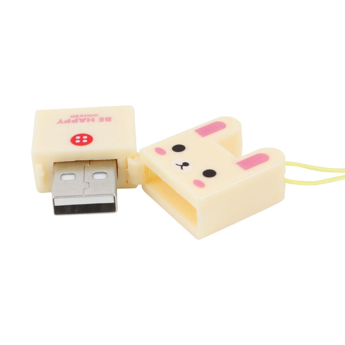 Rabbit Design Plastic Shell USB Micro SD Memory Card Reader Beige