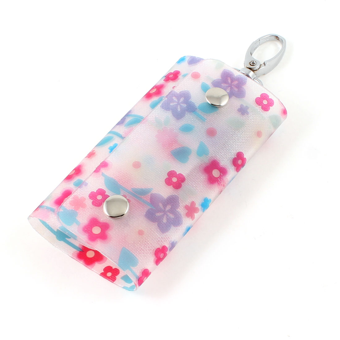 Colorful Flowers Print Lobster Clasp 6 Metal Hooks Keys Holder Case Wallet