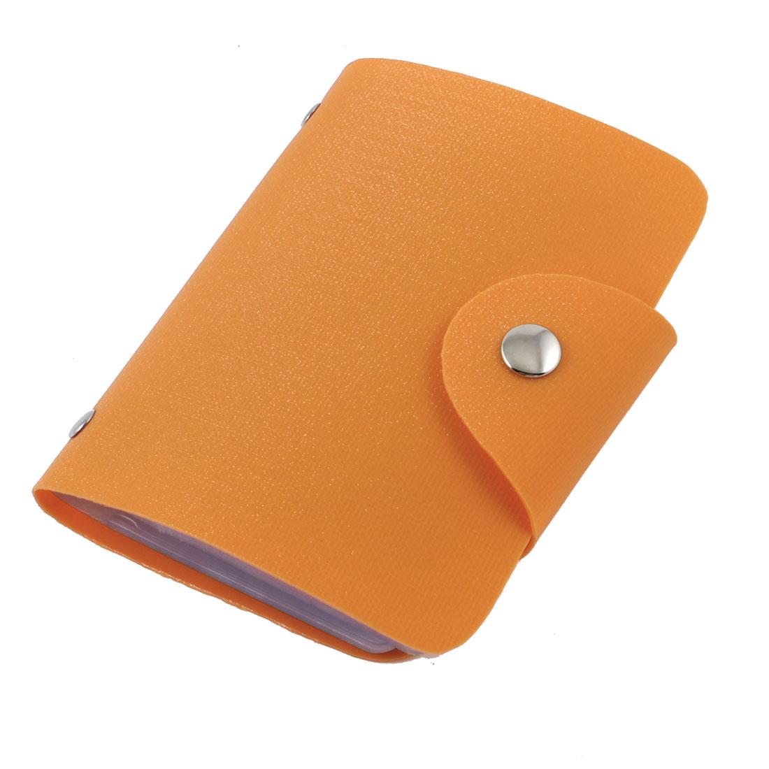 Orange Sparkling 26 Sheets Business Credit Card Case Holder Pockets