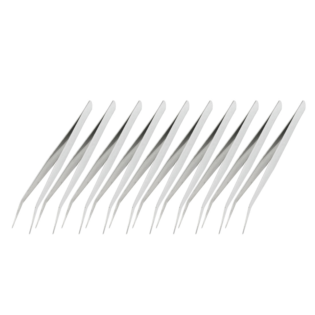 10 Pcs Silver Tone Stainless Steel Curved Tweezers 13.5cm Length