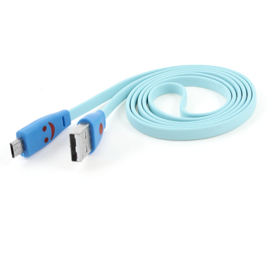 USB Type A to Micro 5 Pin Flashing Light Data Transfer Charger Cable Pale Blue