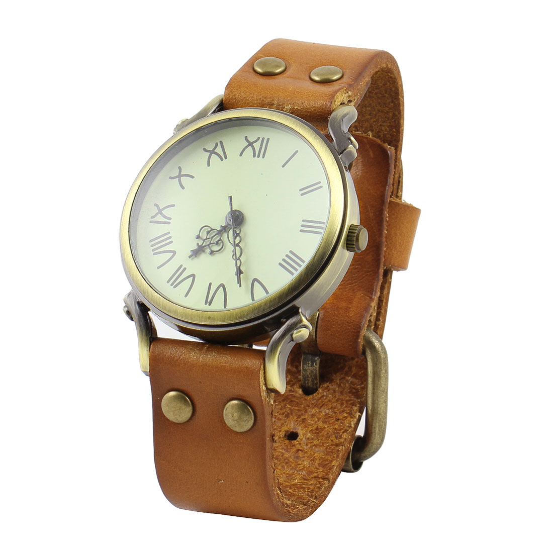 Brown Faux Leather Watchband Roman Numbers Round Dial Watch for Women