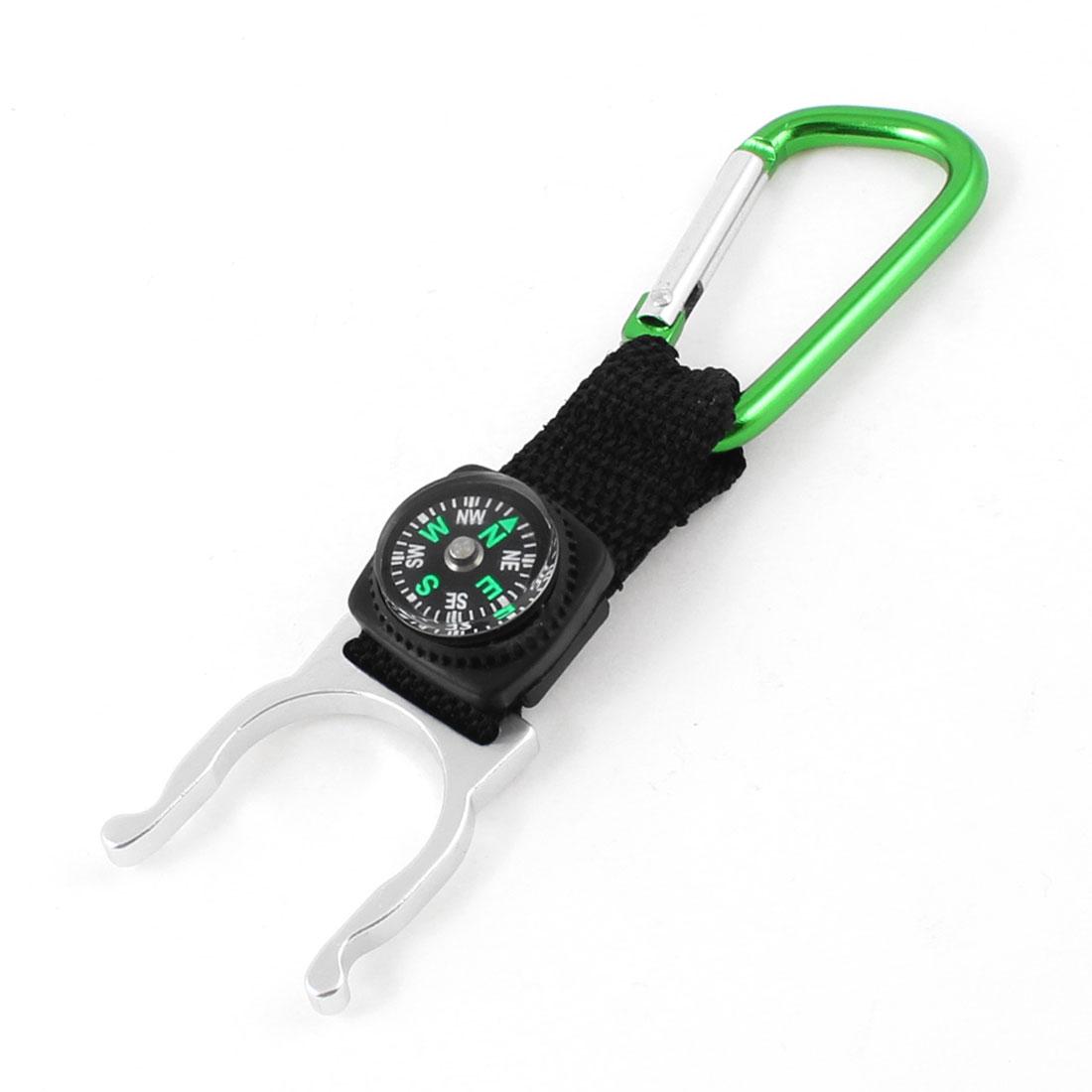 Green Aluminum Alloy Carabiner Hook Water Bottle Holder w Compass
