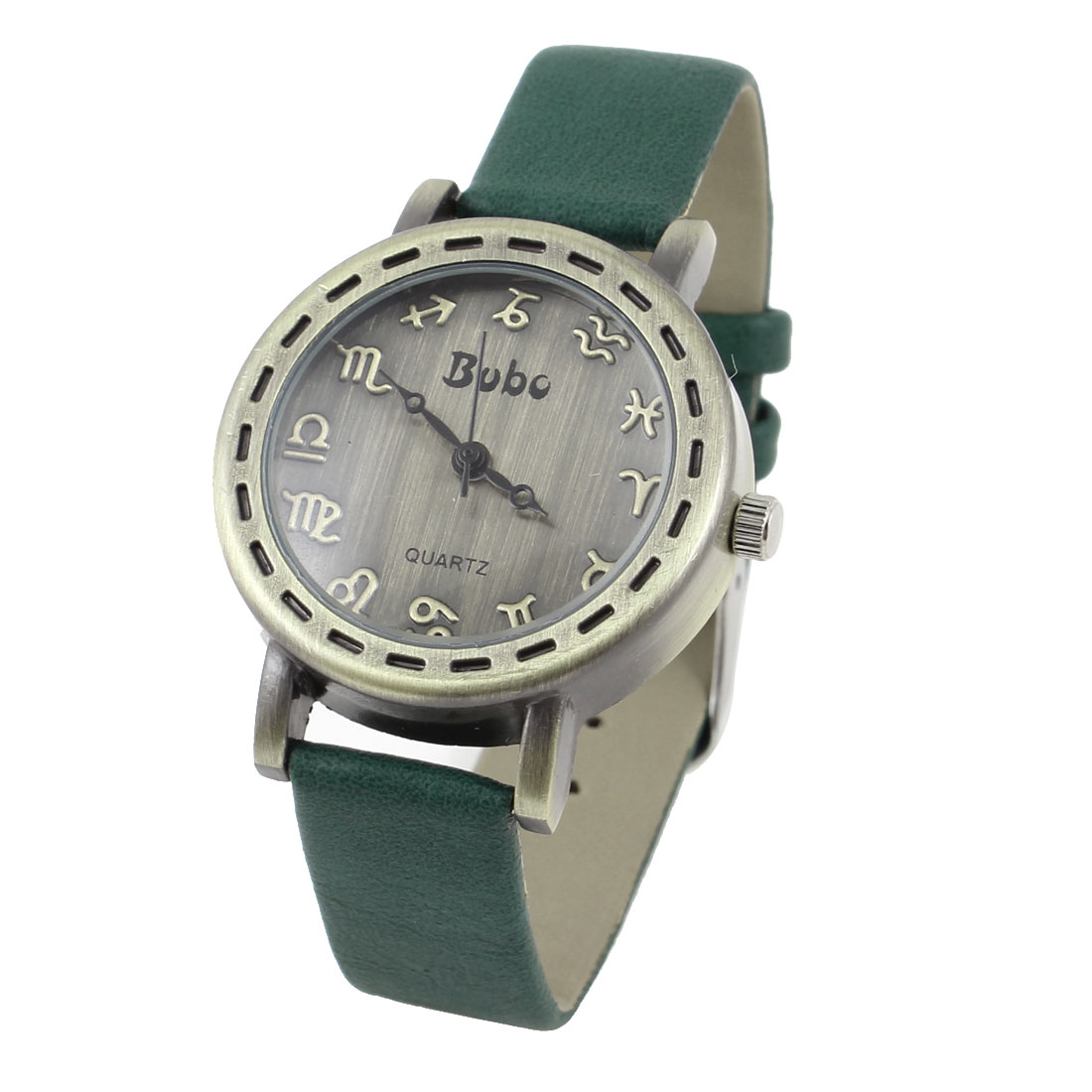 Dark Green Faux Leather Watchband Bronze Tone Round Dial Watch for Ladies