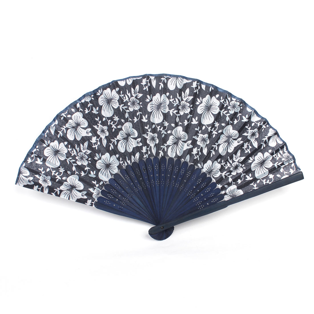 Morning Glory Print Bamboo Fabric Folding Hand Fan White Navy Blue for Ladies