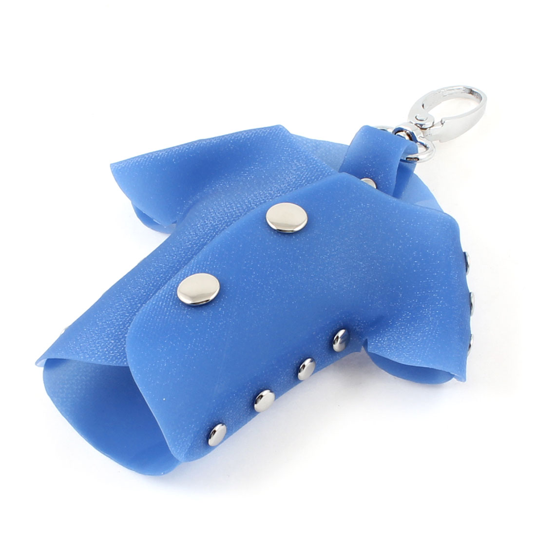 Blue Plastic T Shirt Shaped Lobster Clasp Keys Holder Pouch