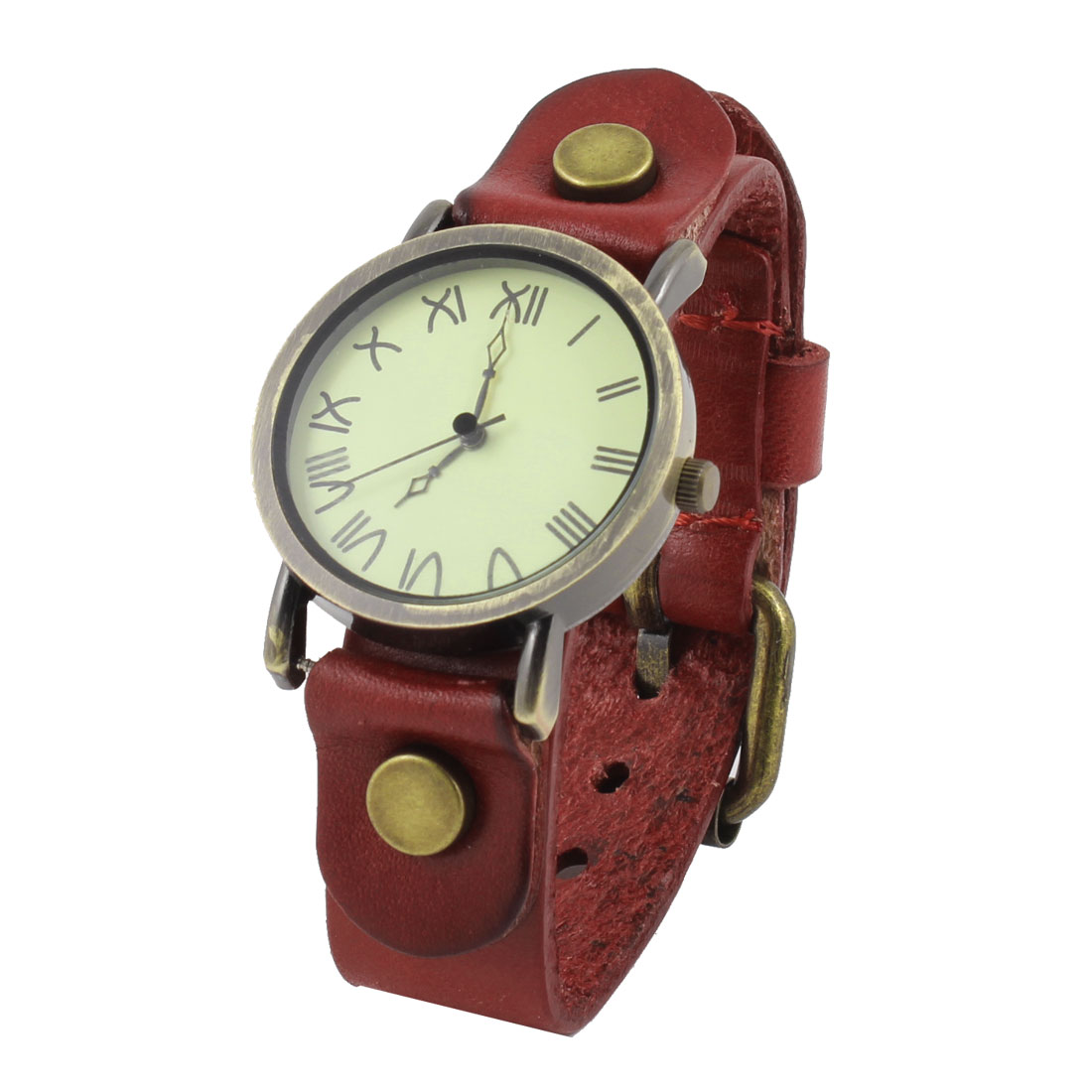 Woman Single Pin Metal Buckle Watchband Wrist Watch Crimson Bronze Tone