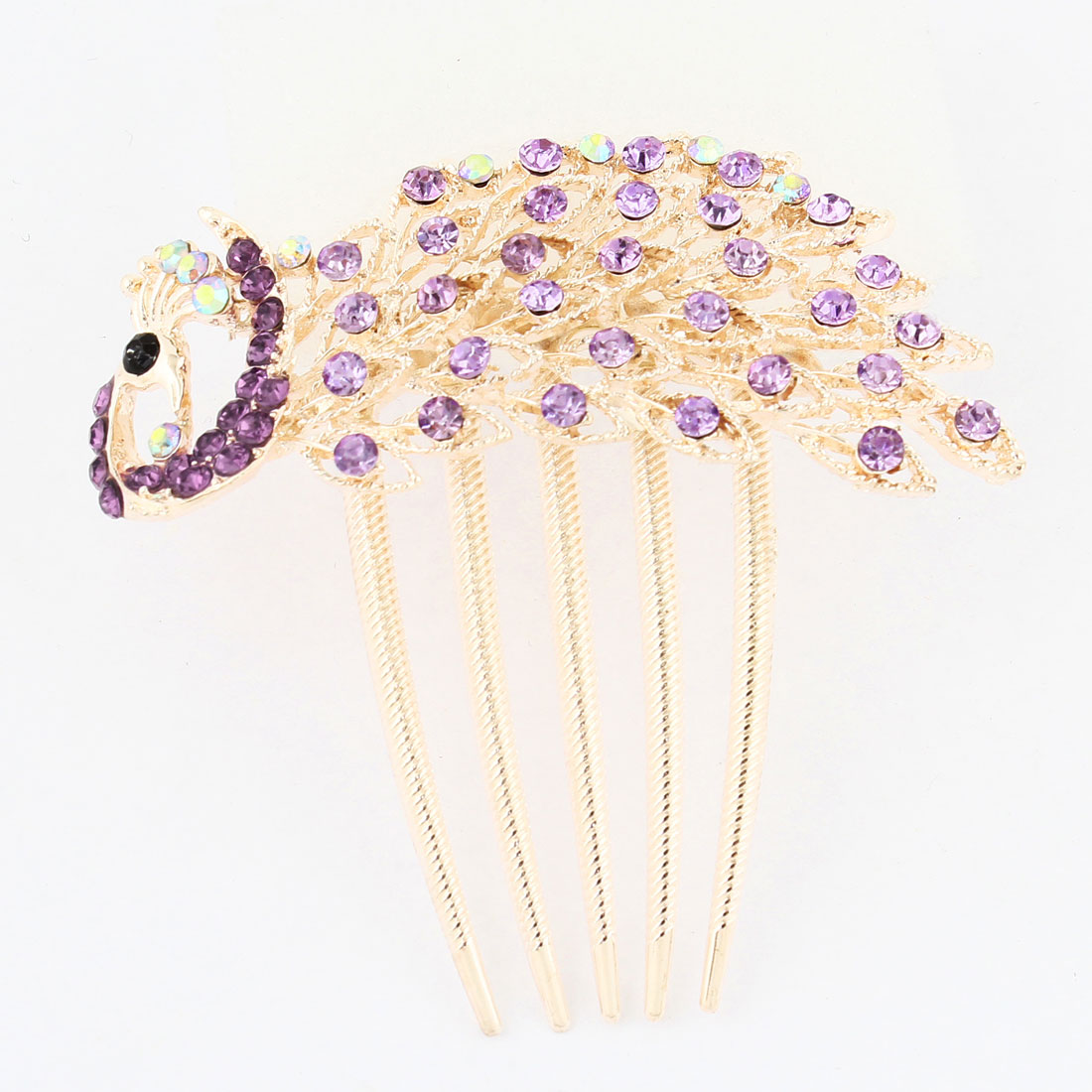 Purple Rhinestone Decoration Peacock Shape Design Hair Comb Clip Copper Tone