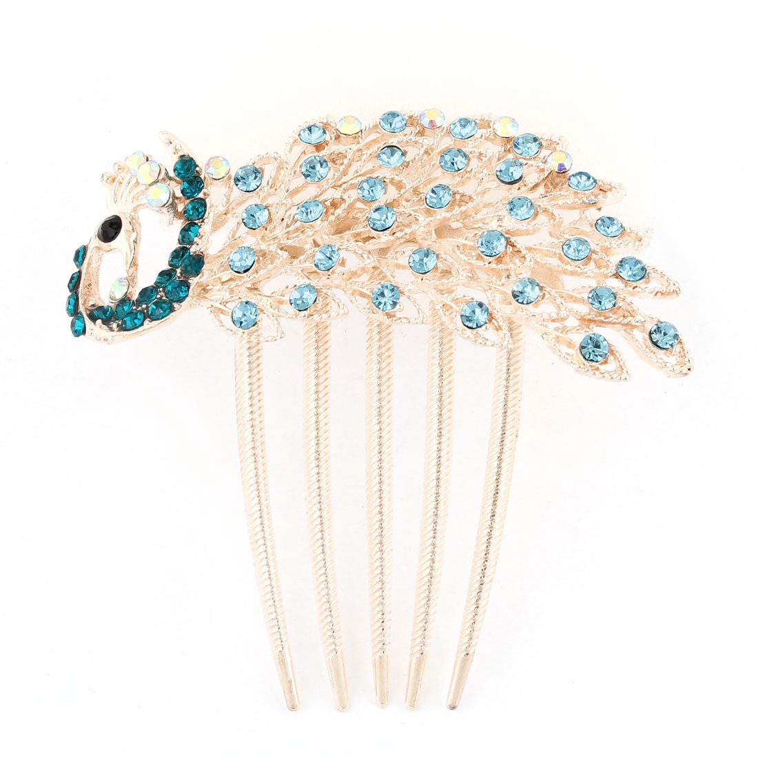 Teal Blue Bling Rhinestone Detail Metal Prong Peacock Hair Comb Clip Copper Tone