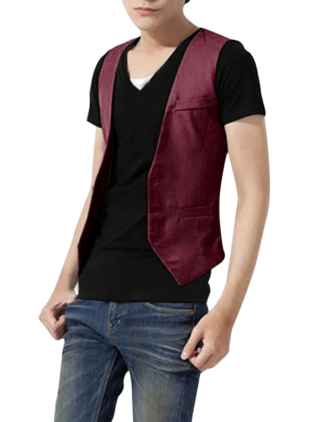 Men Stylish Sleeveless Buckle Decor Back Burgundy Vests S