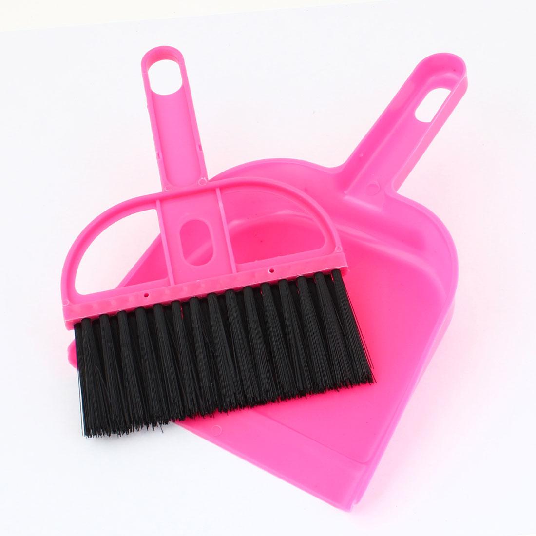 Mini Desk Cleaning Tool Black Fushsia Plastic Broom Dustpan Set