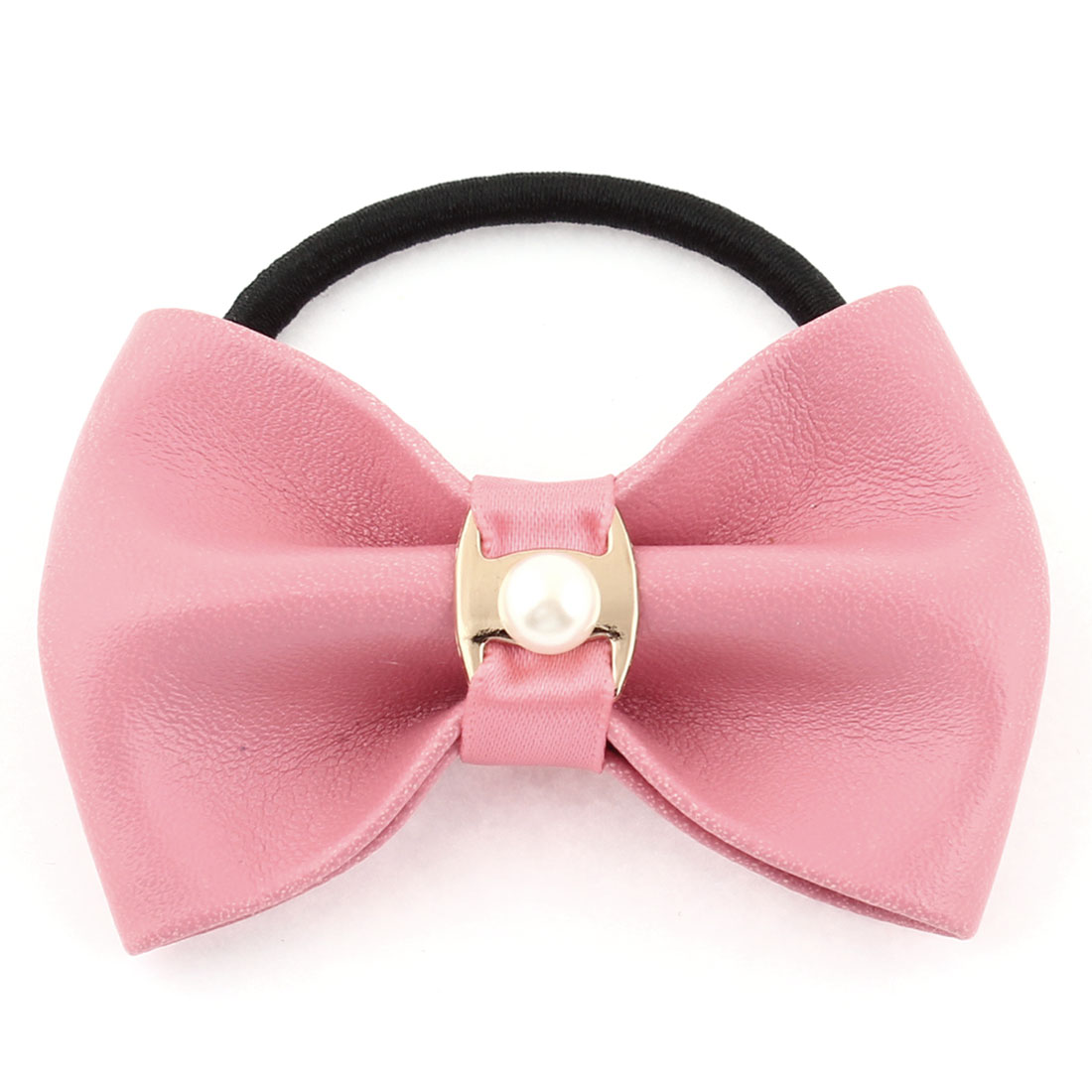 Faux Leather Bowknot Accent Elastic Band Scrunchie Ponytail Holder Pink