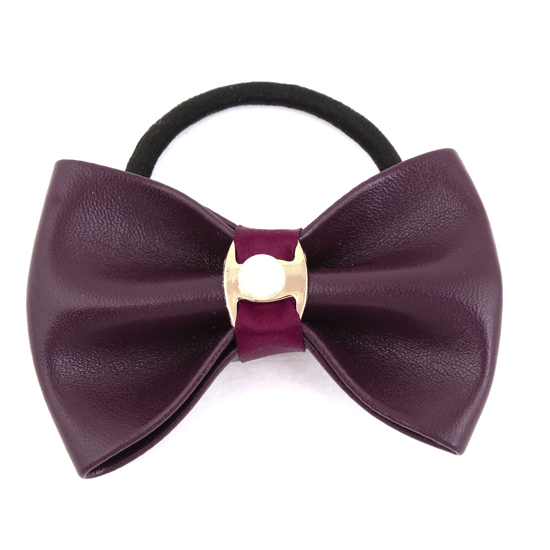 Burgundy Bowknot Oranment Black Elastic Fabric Scrunchie Ponytail Holder