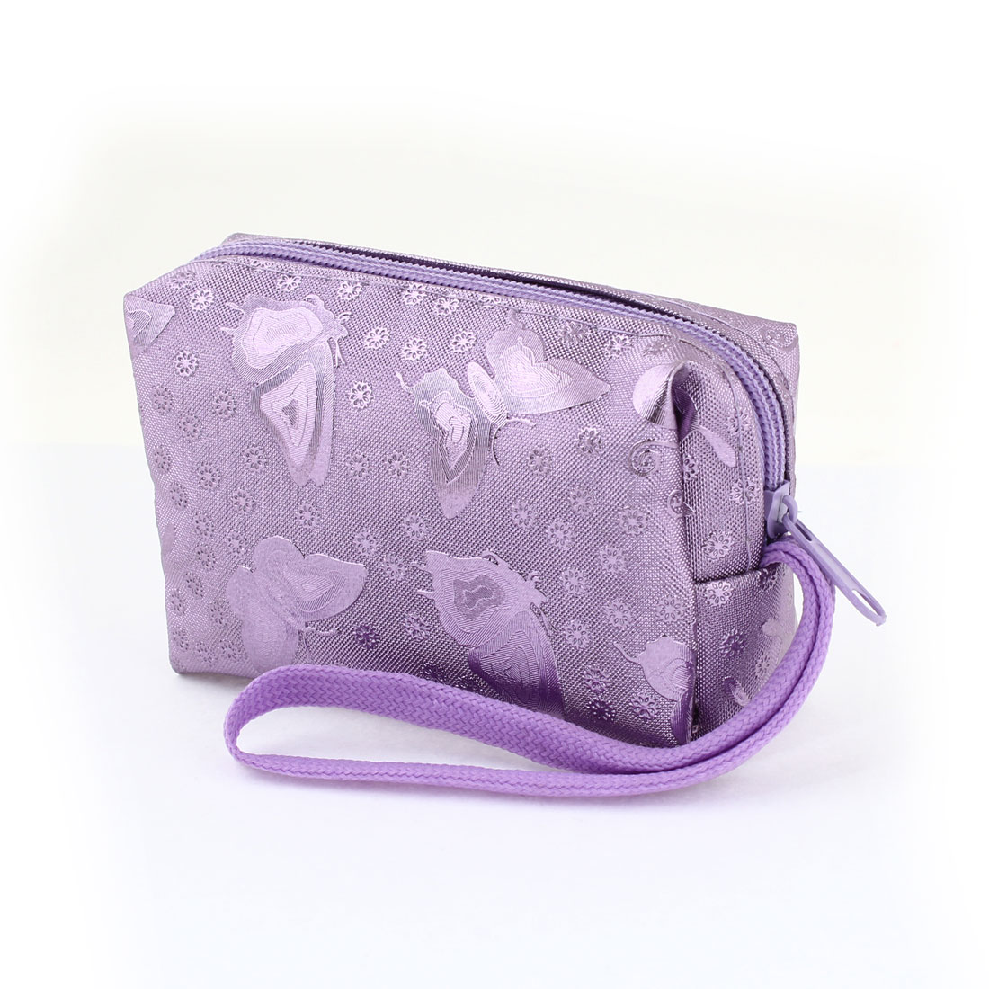 Purple Butterfly Flower Printed Faux Leather Wallet Changes Coin Purse