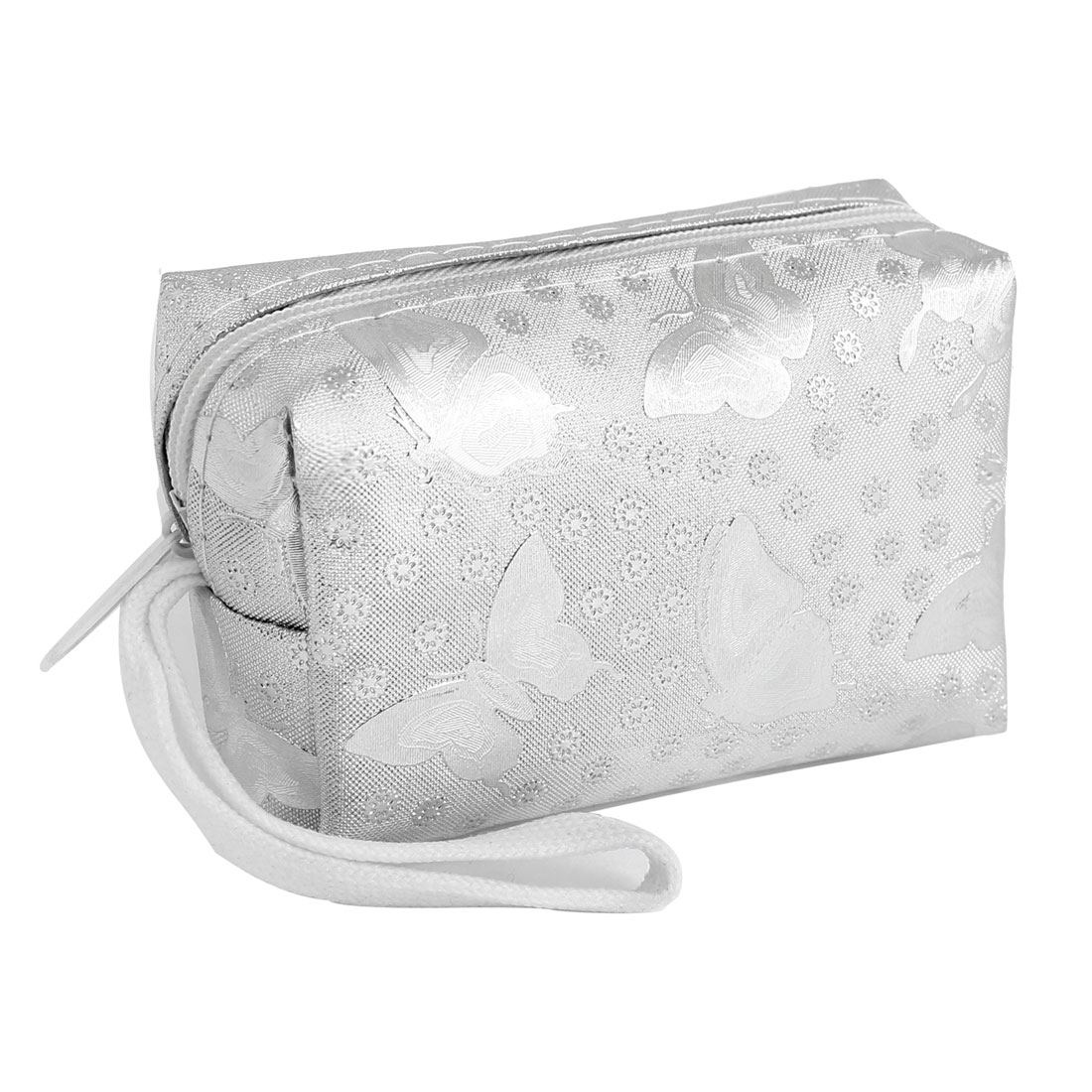 Small Floral Printed White Hand Strap Silver Tone Wallet