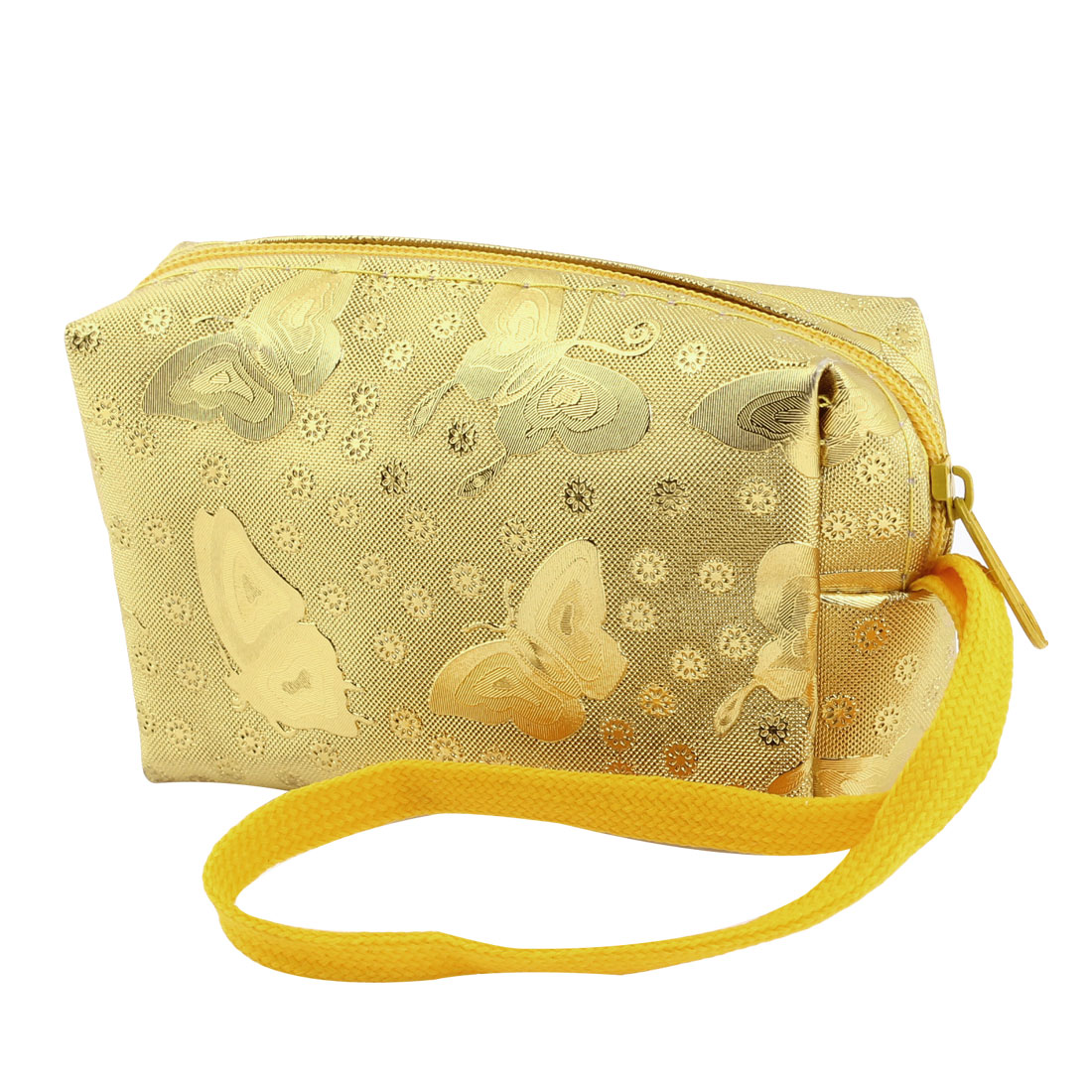 Gold Tone Butterfly Flower Decoration Zipper Closure Coin Wallet