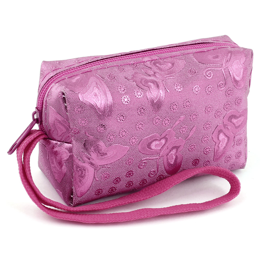 Lady Fuchsia Faux Leather Flower Print Zip Up Wallet Coin Purse