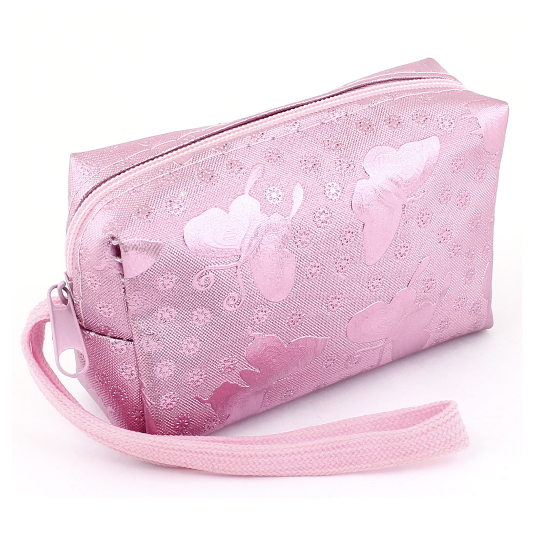 Women Pink Faux Leather Floral Pattern Zipper Cards Coins Purse Wallet