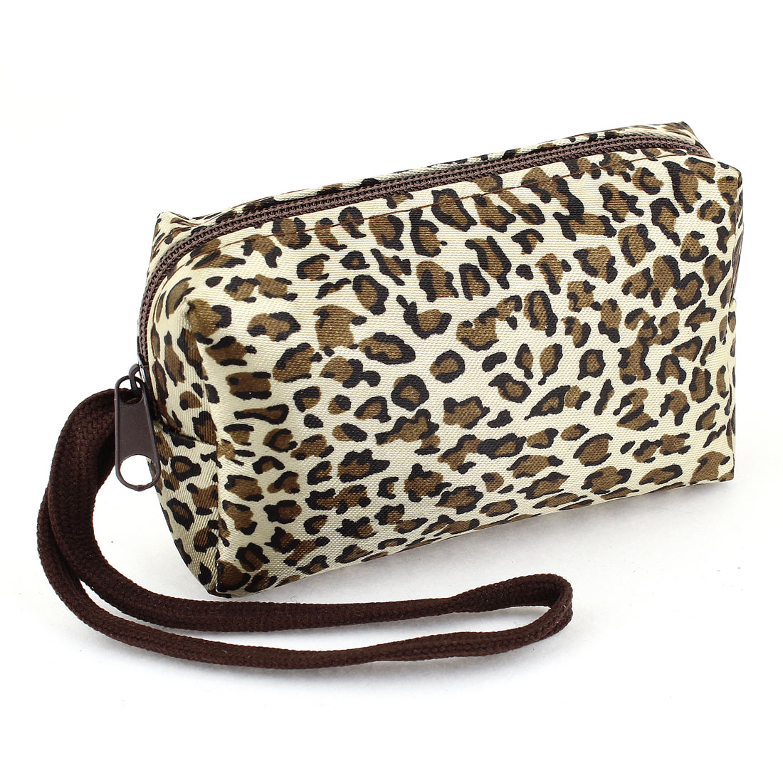 Brown Black Leopard Design Plush Clutch Style Coin Purse