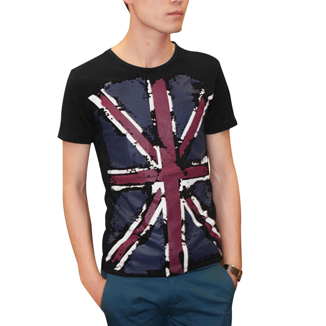 Men Short Sleeves Round Neck Pullover Summer Casual T-Shirt Black S
