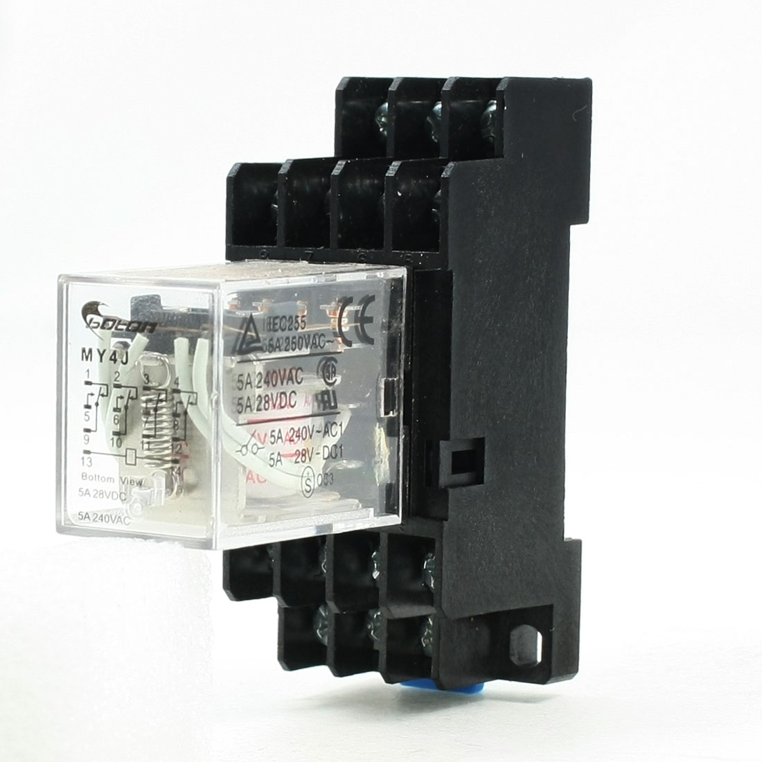 MY4J AC 12V Coil 5A Electromagnetic Relay 14 Pin 4PDT 4 NO 4 NC w Base Socket