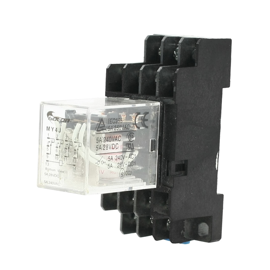 MY4J AC110V Coil 5A 240V AC 28V DC 35mm DIN Rail Power Relay 14 Pin w Socket