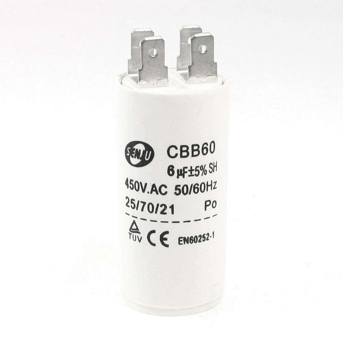 Household Washers Non Polar Motor Capacitor White 6UF 450VAC CBB60