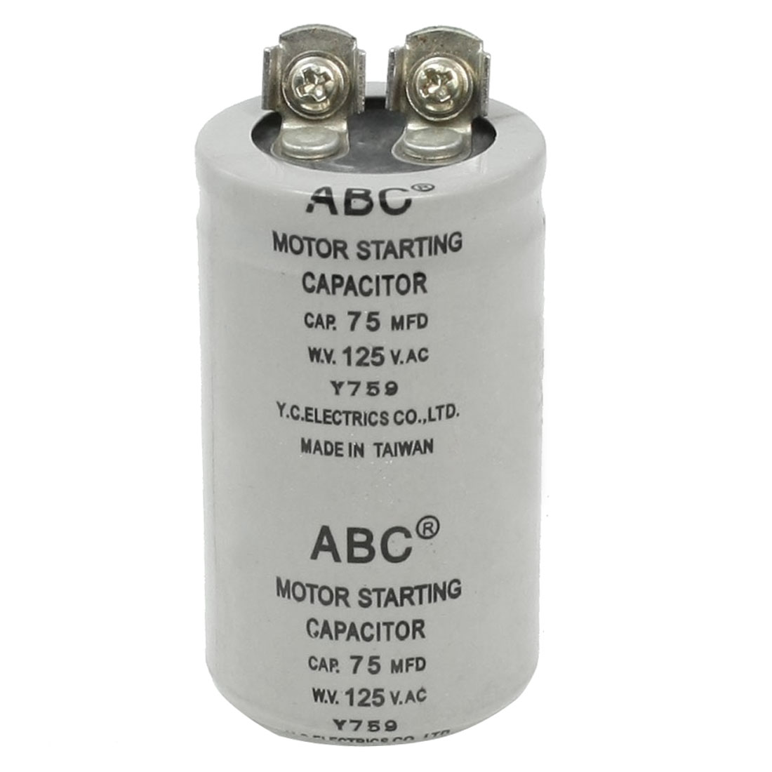 Capacitance Round Polypropylene Film Capacitor AC 125V 75UF 75MFD