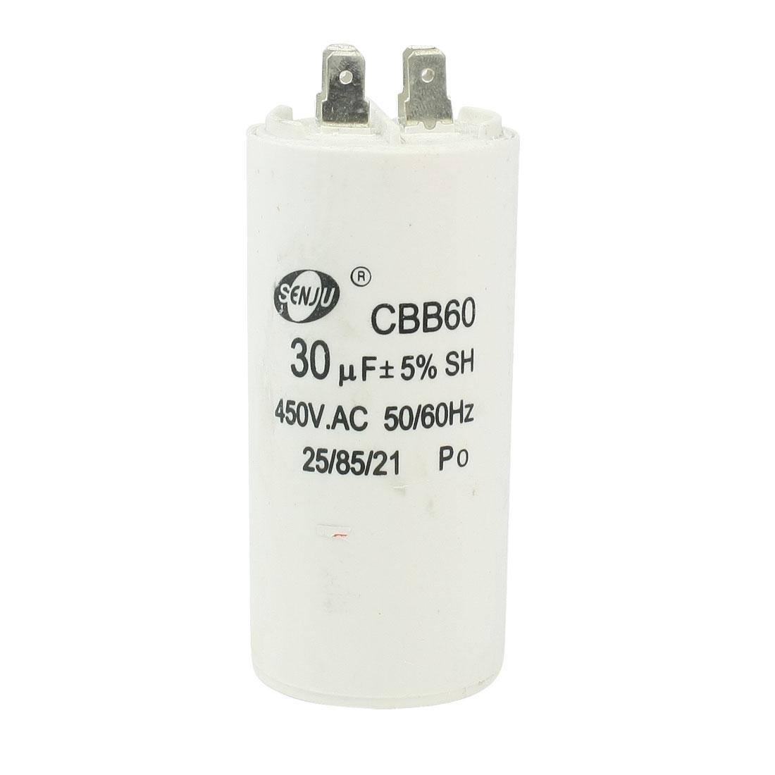 CBB60 30uF 450VAC Polypropylene Film AC Motor Run Capacitor for Washing Machine